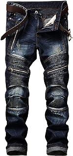 AITITIA Men's Biker Zipper Deco Washed Straight Fit Jean