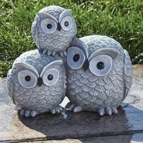 Garden items Owls Garden Statue, one Size, Light Gray