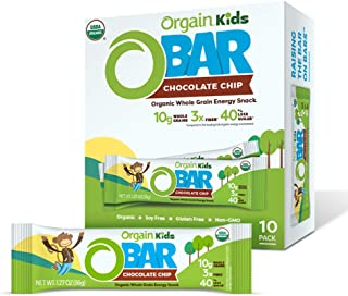 Orgain Organic Kids Energy Bar, Chocolate Chip - Great for Snacks, Vegan, 7g Dietary Fiber, Dairy Free, Gluten Free, Lactose Free, Soy Free, Kosher, Non-GMO, 1.27 Ounce, 10 Count