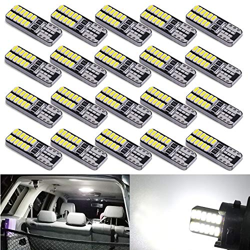 Aucan 194 LED Light Bulb 6000K White Super Bright 168 2825 W5W T10 Wedge 24-SMD 3014 Chipsets LED Replacement Bulbs Error Free for Car Dome Map Door Courtesy License Plate Lights (20, White)