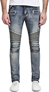 FUUROO Men's Skinny Elastic Motorcycle Biker Pencil Jeans