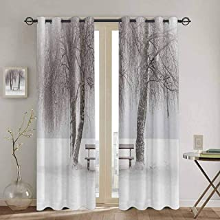 VICWOWONE Shading Insulated Curtain Farm House Decor Cafe Curtain Bench in The Snow Between Trees Winter Theme Picture Snowflakes Christmas Season Art W84 x L84 Inch White Brown