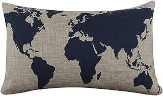 Tenworld Burlap Linen World Map Decorative Pillow Case Cushion Cover 20