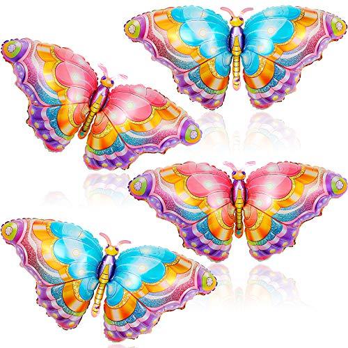 4 Piezas Globos de Mariposa Globos de Papel de Aluminio de Mariposa Colorida Globos de Mylar de Mariposa para Decoraciones de Fiesta Temática de Mariposas Baby Shower Boda Cumpleaños