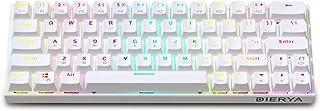 60% mechaniczna klawiatura gamingowa, Bluetooth 4.0, przewodowa/bezprzewodowa klawiatura komputerowa, 63 przyciski kompakt...