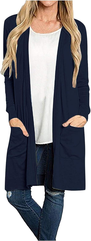 Women's Long Sleeve Open Front Cardigan Loose Pocket Casual Solid Lightweight Kimono Office Long Cardigan