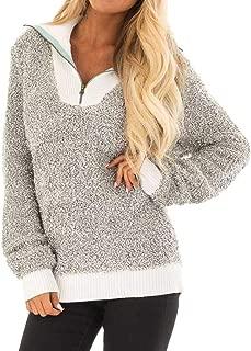 Sherpa Pullover,Chaofanjiancai Womens Fashion Stand Collar Oversize Fluffy Fleece Sweatshirt Pullover Outwear S-XXL