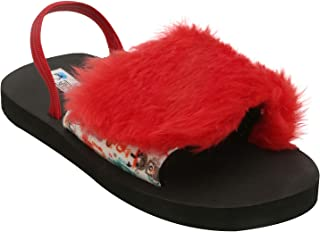 D'chica Red Fur Trimmings Winter Slider Sandals for Girls Fashion