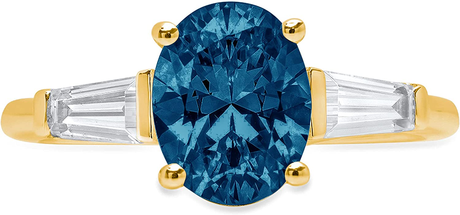 2.0 ct Oval Baguette cut 3 stone Solitaire with Accent Natural London Blue Gem Stone Ideal VVS1 Engagement Promise Statement Anniversary Bridal Wedding Ring 14k Yellow Gold