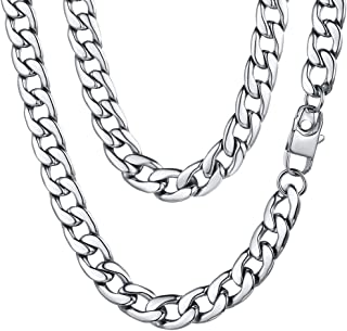 mens chunky silver chain necklace