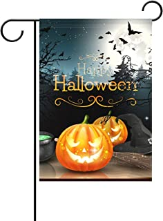 Decorative Happy Halloween Pumpkin Garden Yard Flag Banner for Outside House Flower Pot Double Side Print Polyester 12x18 in