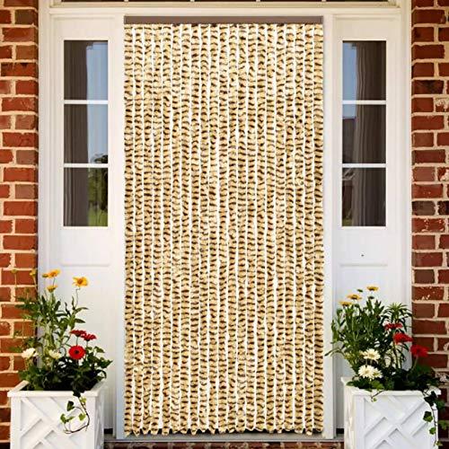 Tidyard Türvorhänge Fadenvorhang Chenille, Türvorhang Flauschvorhang, Fadenvorhang Insektenschutz, Beige und Braun 56 x 185 cm