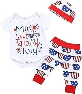 Jugendhj Babysuit 🇨🇦🇨🇦Infant Baby 4th of July Letter Romper Bodysuit+Stars Striped Pants+Hat Outfits