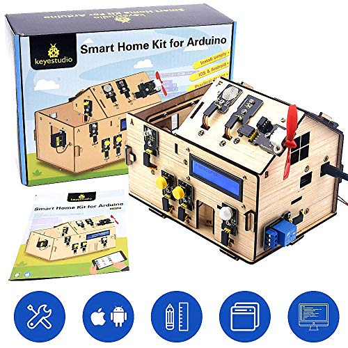 KEYESTUDIO Smart loT Home Kit for Arduino Stem Learning Internet of Things, Mechanical Building, Electrical Engineering, Code Educational Coding for Kids Teens Adults