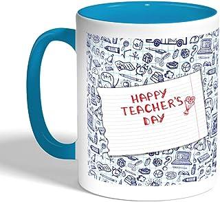 Happy teachers day Printed Coffee Mug, Turquoise Color (Ceramic)