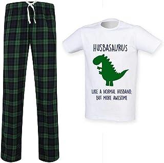 Mens Husband Dinosaur Tartan Trouser Pyjama Set Family Matching Twinning Family