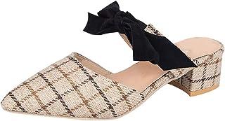 b975237b956 Anxinke Women Fashion Pointed Toe Bowknot Chunky Heel Mules Sandal