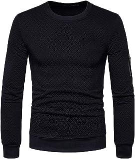 Mens Sweatshirt Crew Neck Fashion Autumn Long Sleeve Plaid Jacquard Pullover Classic Round Neck Sports Tops Men Winter War...