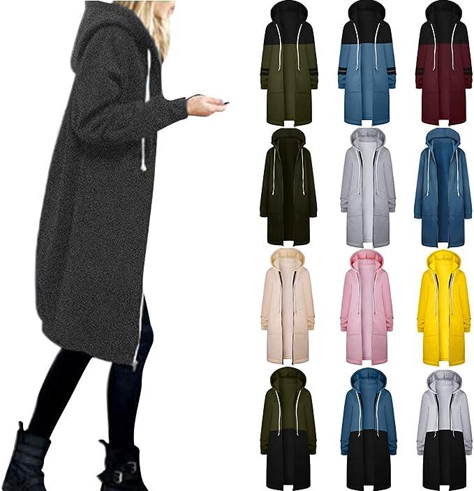 Women Solid Zip Up Hooded Sweatshirt Winter Fleece Jacket Coat Casual Drawstring Long Sleeve Cardigan Outwear Plus Size