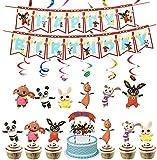 32PCS Bing Bunny Decoraciones para Fiestas Cumpleaños, Birthday Party Supplies Bing Bunny, Banner de Feliz Cumpleaños, 24 Cake Toppers y 6 Colgante Remolino Suministros para Fiestas Decoraciones