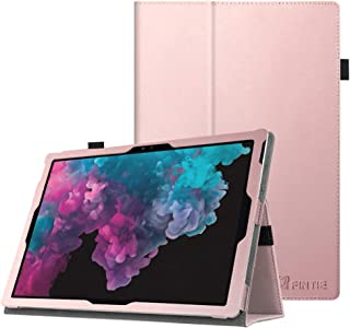 Fintie Surface Pro 7 / Pro 6 Case - Premium Vegan Leather Slim Fit Folio Cover with Stylus Holder, Compatible with Microsoft Surface Pro 5 / Pro 4 / Pro 3 and Type Cover Keyboard (Rose Gold)