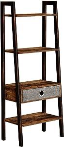 Rolanstar 4-Tier Rustic Ladder Shelf with Drawer, Bookshelf, Storage Rack Shelves, Stable Retro Metal Frame, for Living Room, Office Room,LD001-A