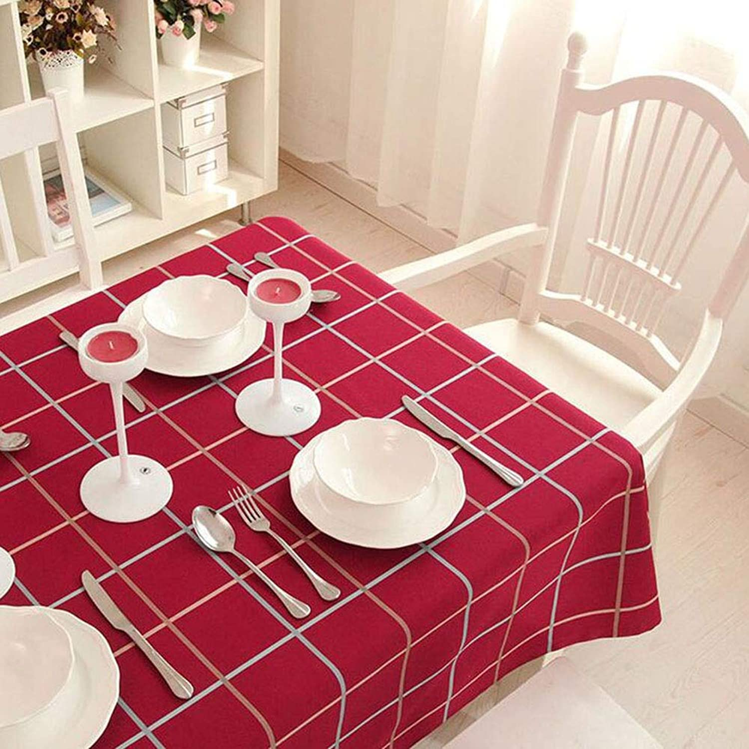 QY Tablecloth Tablecloth Cotton and Linen Dining Table Linen Slipcover Household Kitchen Indoor Outdoor Party Holiday Use color Square Format (color   pink, Size   90  140cm)