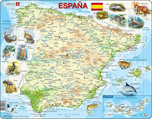 K84 Mapa Físico de España, edición en Español, Puzzle de Marco con 58 Piezas