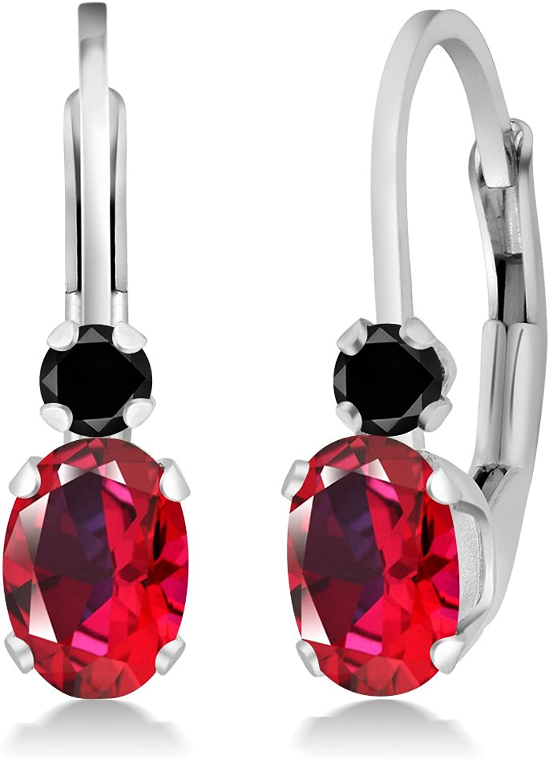 1.07 Ct 925 Sterling Silver Earrings Made With Oval Blazing Red Swarovski Topaz