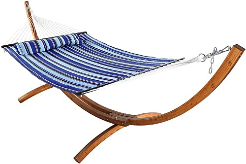 popular Sunnydaze Quilted Double Fabric 2-Person Hammock with 12-Foot Curved Arc Wood Stand, online Catalina Beach, 2021 400 Pound Capacity outlet online sale