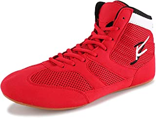 WJFGGXHK Mens Boxing Shoes, High Top Wrestling Shoes Breathable Non-Slip Boxing Boots Athletic Casual Shoe for Men Women