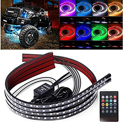 KOMAS 4pcs 8 Colors LED Strip Under Car Tube Underglow Underbody System Neon Accent Light Kit with Sound Active and Wireless Remote Control (2x36&2x48 Strips)