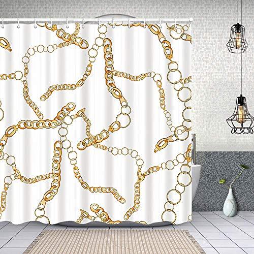 Starodec Cortina de Ducha Impermeable patrón de Cadena de Oro Transparente Cortinas baño con Ganchos Lavable a Máquina 72x72 Inch