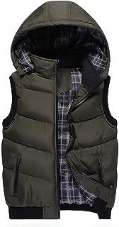 LGQ-HW Mens Down Puffer Gilet Vest Body Warmer Waistcoat Padded Jacket Outwear Packable Winter Ultralight Hooded Gilets with Zipper Pockets (Color : Army Green, Size : XL)