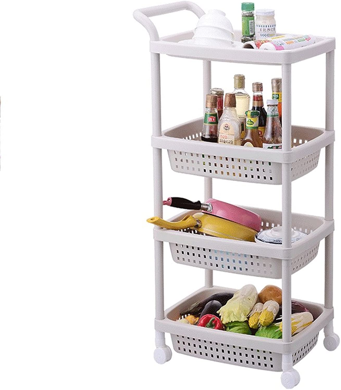 4 Tier Standing Shelf, Plastic Rolling Trolley for Kitchen & Bathroom, 4 Tier Basket Stand Storage Shelvs and Cart, Mobile Storage Racks