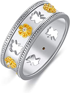 LONAGO Sunflower Ring Sterling Silver Band Ring for Women You are My Sunshine Stacking Ring