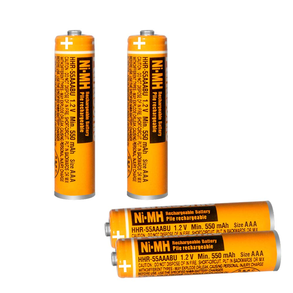 Pack de 4 baterías Recargables HHR-55AAABU NI-MH para Panasonic 1.2V 550mAh AAA para teléfonos inalámbricos: Amazon.es: Electrónica