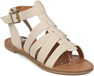 Women Open Toe Strappy Flat Gladiator Sandal - HK72 by Qupid Collection