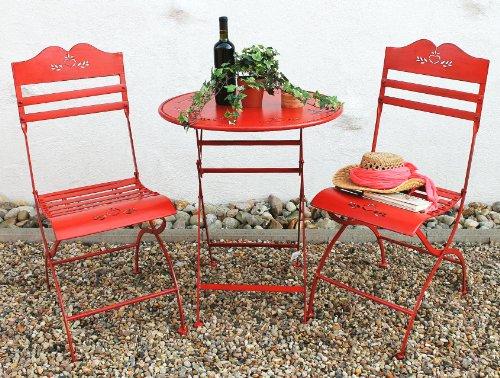 DanDiBo Sitzgruppe Eisen klappbar Passion Tisch mit 2 Stühle Set aus Metall Rot Gartenstuhl Gartentisch Antik Landhaus Garten