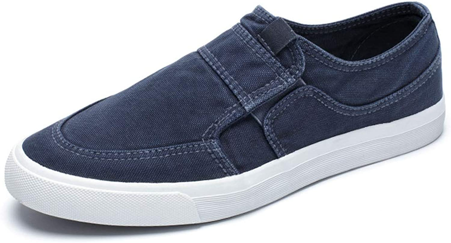 WangKuanHome Summer breathable canvas shoes trend board shoes men's wild casual canvas shoes men's shoes (color   bluee, Size   38)