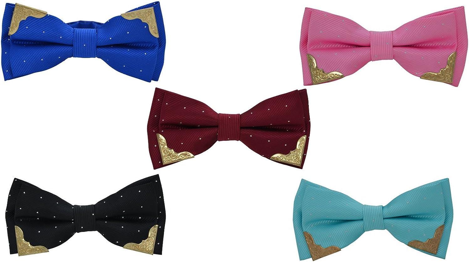 SYAYA 5pcs Adjustable Bow Ties for Men Pre Tied Bowtie Party Wedding Tuxedo Tie NT03