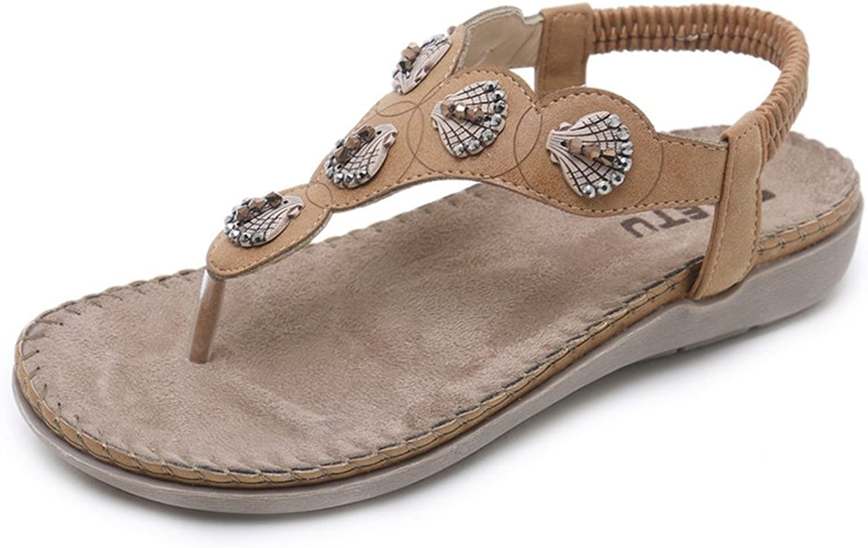 Navoku Women's Leather Retro Strap Sandles Summer Thong Sandals