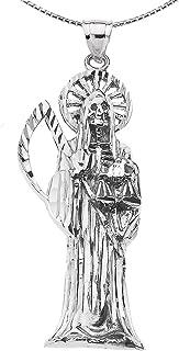 Santa Muerte (Grim Reaper) in Sterling Silver Pendant Necklace