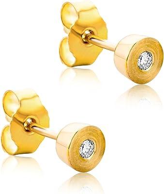 Orovi, set di orecchini da donna in oro giallo con diamante 14 carati (585), brillanti 0,05 carati