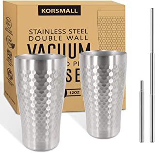 Stainless Steel Pint Glasses, 12oz Tumbler Glasses Keep Drinks Cold or Hot, Insulated Metal Cups for Cocktails, Coffee, Smoothies (2 Pack Metal Cups + 2 Reusable Straws)