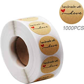 1000pcs 1'' Handmade with Love Stickers, Yoget Thank You Sticker Kraft Paper Sticker Roll