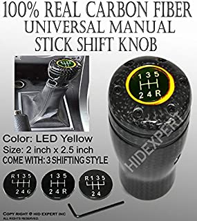 ICBEAMER JDM Style 100% Real Carbon Fiber with Amber LED Light Fit Stick Shift Knob for Manual Transmission Only