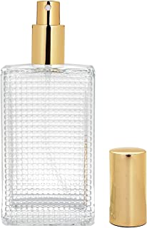 BEAUYK 100 ml (3.4 oz) Large Clear Thick Glass Empty Bottle, Gold/Silver Spray Perfume Bottle Atomizer Bottle Makeup Tool for Holiday Gift (Gold)