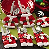 Mbuynow 6 Piezas Cubiertos Navidad, Santa Claus Bolsillos para Cubiertos Decoración Navidad Papa...