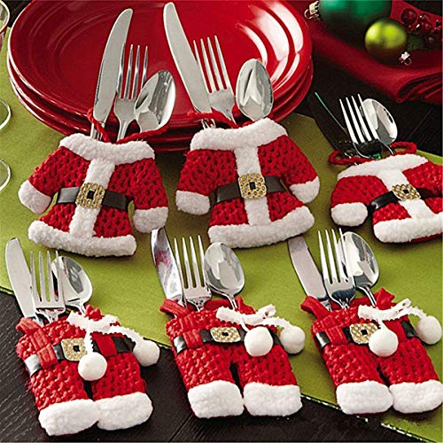 Mbuynow 6 Piezas Cubiertos Navidad, Santa Claus Bolsillos para Cubiertos Decoración Navidad Papa Noel Adornos Navideños